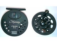 Brand new, boxed with instructions Shakespeare Odyssey Disc Drag fly fishing reel and spare spool