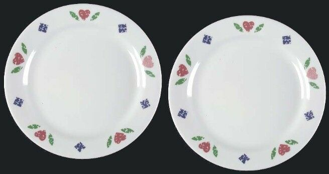 "2 Corelle QUILT 7-1/4"" Bread & Butter Plates Corning Pattern Hearts & Diamonds"