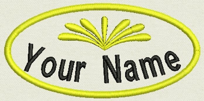 """Oval Embroidered Patch, Name Tag, badge 4"""" x 2"""" Iron On or Sew On"""