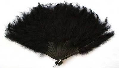 BLACK 45cm FEATHER FAN BURLESQUE HEN NIGHT DANCE FANCY DRESS OUTFIT (Burlesque Fan Dance Kostüme)