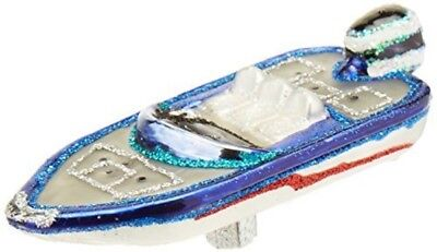 Old World Christmas Bass Boat Glass Blown Ornament