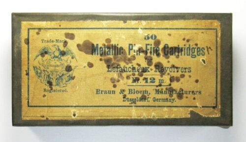 Empty Tin for 50 12mm Lefaucheux Pinfire Cartridges by Braun & Bloem of Germany