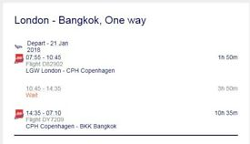 ONE WAY TICKET - LONDON TO BANGKOK - 21ST JANUARY 2018 - W/ NORWEGIAN AIR