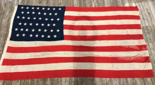 "Antique Large United States 45 Star US Flag Embroidered Stars 68"" x 108"""