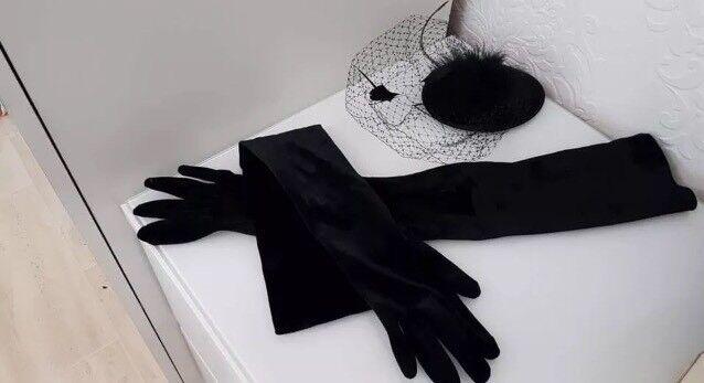 Long black suede effect gloves & fascinator