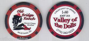 Old Bridge Ranch Brothel collectors chip Mustang, NV.  Cat House