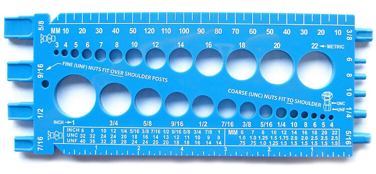 Bolt Nut & Thread Size Checker Gauge (Fractional and Metric) StainlessTown Blue