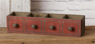 New Rustic Primitive Antique Style Drawer Tool Box Wood Divided Caddy Basket