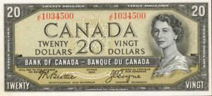 Old Canadian $20 bill for sale