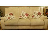 Beige 3-Seater Manual Recliner Sofa & Armchair.