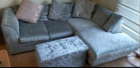 Corner Chenille Silver Sofa