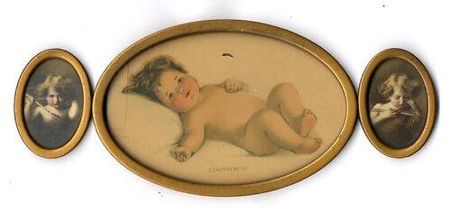 Antique Bessie P Gutmann Oval Framed CONTENTMENT & CUPID AWAKE/ASLEEP