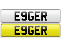 E9GER Eager Ambitious Gerry Cherished Private Number Plate Personalised
