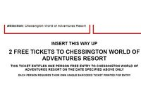 £25 - 2 x Chessington Tickets - valid on 18.04.17