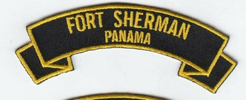 """Fort Sherman, Panama 4"""" embroidered scroll tab patch"""