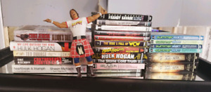Wrestling DVDs and books.