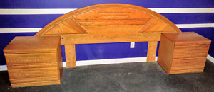 Solid oak headboard and night stands
