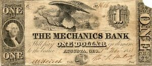 1858 US MECHANICS BANK $1 ONE DOLLAR BANKNOTE