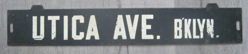 Vintage New York Subway Train Low-V Destination Sign Utica Avenue Brooklyn