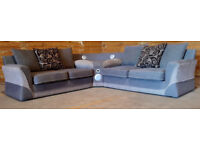 Large fabric corner sofa with docking - light greyish brown.