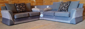 Large fabric corner sofa with docking - light greyish brown.