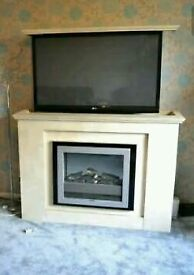 Unique remote controlled hydraulic lifting TV bracket and fire surround