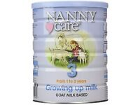 Nanny Care infant formula 900g- goat's milk for 1 to 3 year olds unopened