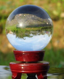 100mm clear crystal ball and mahogany stand