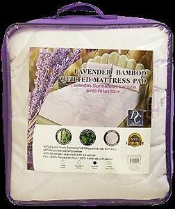 Lavender Bamboo Quilted Mattress Pad - Queen Size