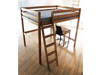 Double bunk (pine) varnished with side ladder