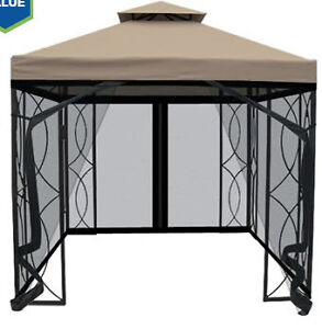 Garden Treasures 8-ft x 8-ft Square Gazebo with Insect Net