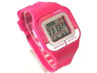 SDB-100-4A Pink Casio Watches Ladies Stopwatch Day Date Resin Band - NEW