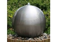 75cm Brushed Stainless Steel Sphere Water Feature With Pump and LED Lights RRP £300