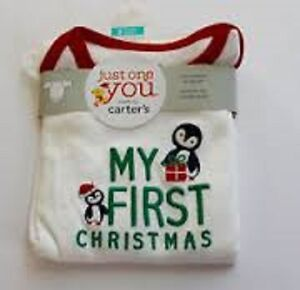 Carters My First Christmas Long Sleeve Bodysuit 3Mo BRAND NEW