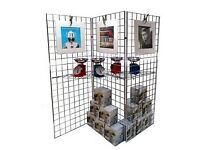 2 x grid zig-zag display stands for sale as new including shelving