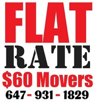 $15 flat RATE movers - 647-931-1829