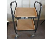 Trolley, two tier wood effect with 4 wheels