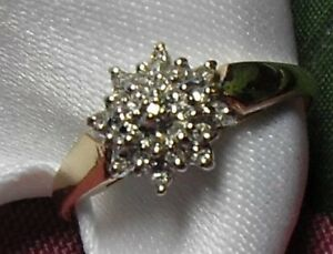 "10kt yellow gold ""Round Diamond Cluster"" Engagement Ring/Sz 8"