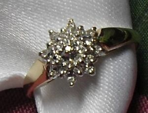 """10kt yellow gold """"Diamond Cluster"""" Engagement Ring - Size 8"""