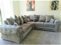💯💯BRAND NEW VERONA CHESTERFIELD GREY PLUSH FABRIC 3+2 SOFA SOFA SET OR CORNER SUITE ON SALE