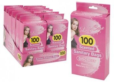 100 Disposable Scented Sanitary Bags Towel Degradable Feminine Hygiene