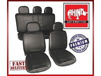 UNIVERSAL 11 PIECE LUXURY BLACK LEATHER LOOK FULL CAR SEAT COVER SET