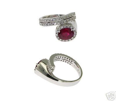 18k Wg Ladies Fancy Diamond Ruby Ring