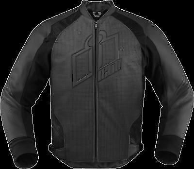 Icon Hypersport Prime Stealth Motorcycle Leather Jacket Thermal Liner Armor 3XL