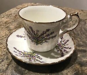 Newhall China Cup and Saucer Lavender Design