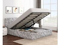SAME DAY DELIVERY-- CRUSHED VELVET DOUBLE OTTOMAN STORAGE GAS LIFT UP BED FRAME SAME DAY DELIVERY