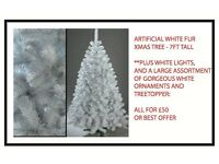 WHITE ARTIFICIAL XMAS TREE AND LIGHTS AND ORNAMENTS FOR SALE - ALL FOR £50 - AND OTHER ITEMS