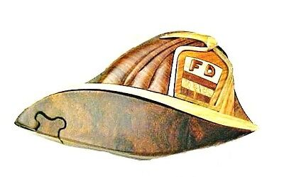 Fireman Hat Craft (Fireman's Hat Trinket Box Fight Fighter Puzzle Hand Crafted Intarsia Wood Art)