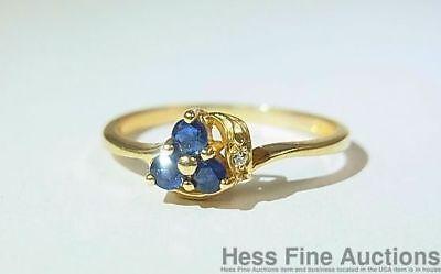 14K Gold Natural Sapphire Genuine Diamond NEW 3 Stone Size 6.5 Ring - Genuine Sapphire 3 Stone Ring