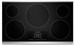 "KITCHENAID NEW KECC667BSS 36"" ELECTRIC, 5 ELEMENTS  TAP TOUCH CONTROLS   CERAN COOKTOP (BD-1528)"